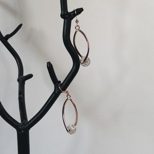 Fifth Avenue Rose Gold and Silver Drop Earrings